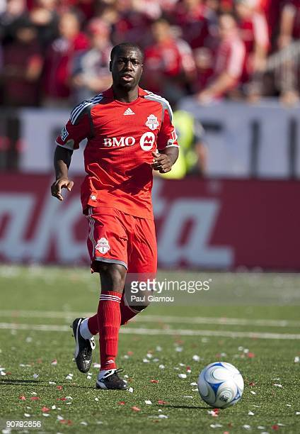 Defender Nana Attakora-Gyan of the Toronto FC controls the ball during the match against the Colorado Rapids at BMO Field on September 12, 2009 in...