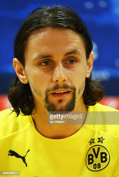 Defender Neven Subotic looks on during a Borussia Dortmund press conference ahead of the UEFA Champions League Group D match against Arsenal at...