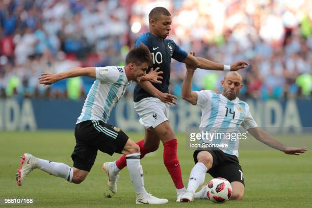 Defender Nicolas Tagliafico of Argetina National team forward Kylian Mbappe of France National team and defender Javier Mascherano of Argetina...