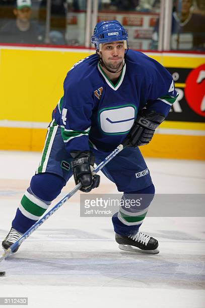 Defender Nolan Baumgartner of the Vancouver Canucks skates on the ice during the game against the St. Louis Blues at General Motors Place on February...
