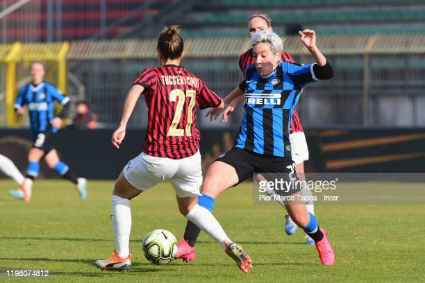 Defender of AC Milan Women Linda Tucceri Cimini competes for the ball with Stefania Tarenzi of FC Internazionale Women during the Women Serie A match...