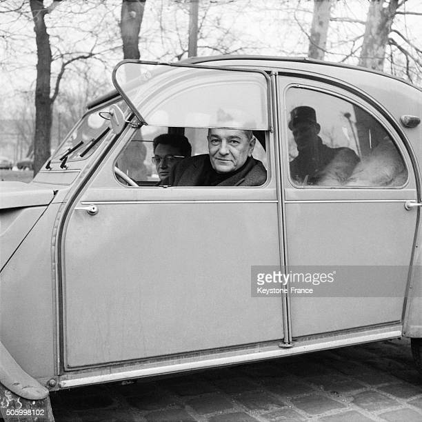 Defender Of Raoul Salan Lawyer JeanLouis Tixier Vignancour arrives aboard his Citroen 2CV At the Military High Court The Last Day Of the Trial Of...