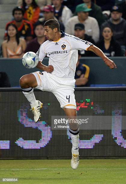 Defender Omar Gonzalez of the Los Angeles Galaxy recovers a loose ball against Chivas USA at The Home Depot Center on November 8 2009 in Carson...