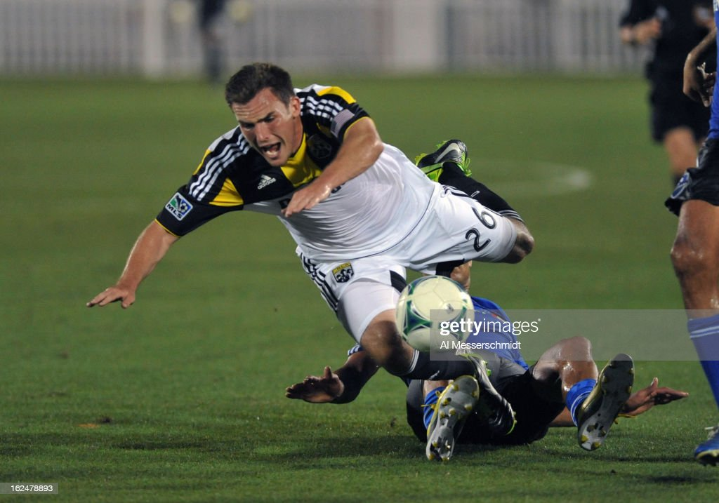 Defender Reed Matte #26 of the Columbus Crew tumbles in front of the goal against the Montreal Impact in the final round of the Disney Pro Soccer Classic on February 23, 2013 at the ESPN Wide World of Sports Complex in Orlando, Florida.