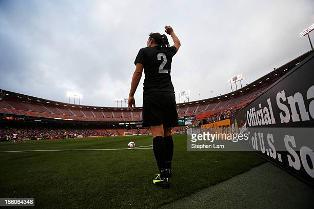Defender Ria Percival of New Zealand prepares to kick the ball against the US Women's National Team during the second half of their international...