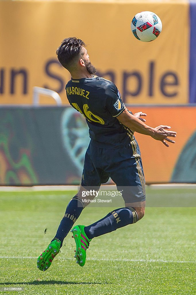 Defender Richie Marquez #16 of Philadelphia Union chests the ball during the match vs New York City FC at Yankee Stadium on June 18, 2016 in New York City. New York City FC defeats Philadelphia Union 3-2.