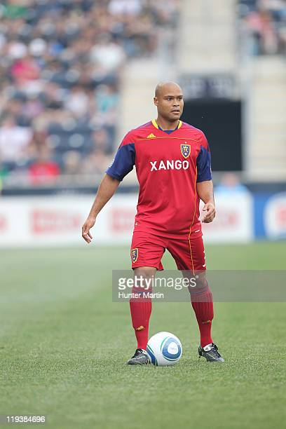 Defender Robbie Russell of Real Salt Lake controls the ball during a game against the Philadelphia Union at PPL Park on June 11 2011 in Chester...