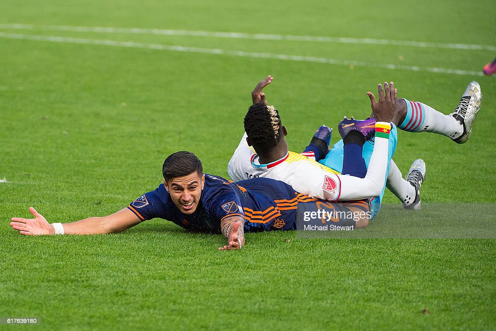 Defender Ronald Matarrita #22 of New York City FC argues a call during the match vs Columbus Crew SC at Yankee Stadium on October 23, 2016 in New York City. New York City FC defeats Columbus Crew SC