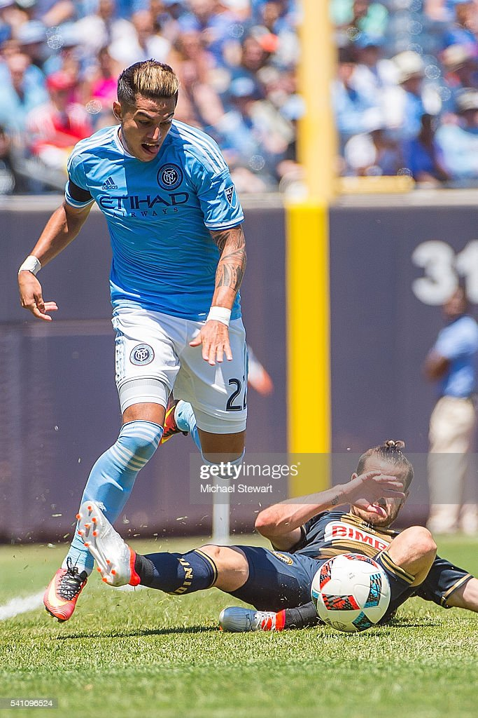 Defender Ronald Matarrita #22 of New York City FC gets fouled during the match vs Philadelphia Union at Yankee Stadium on June 18, 2016 in New York City. New York City FC defeats Philadelphia Union 3-2.
