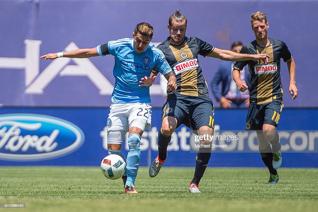 Defender Ronald Matarrita #22 of New York City FC kicks the ball forward during the match vs Philadelphia Union at Yankee Stadium on June 18, 2016 in New York City. New York City FC defeats Philadelphia Union 3-2.