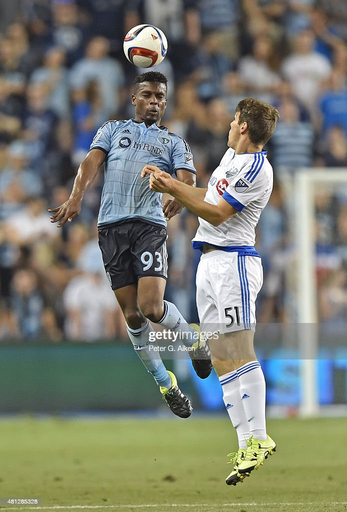 Defender Soni Mustivar #93 of Sporting Kansas City heads the ball against mid-fielder Maxim Tissot #51 of the Montreal Impact during the second half on July 18, 2015 at Sporting Park in Kansas City, Kansas.