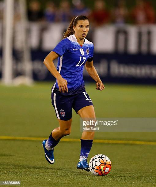 Defender Tobin Heath of the United States dribbles with the ball during the friendly match against Costa Rica at Finley Stadium on August 19 2015 in...