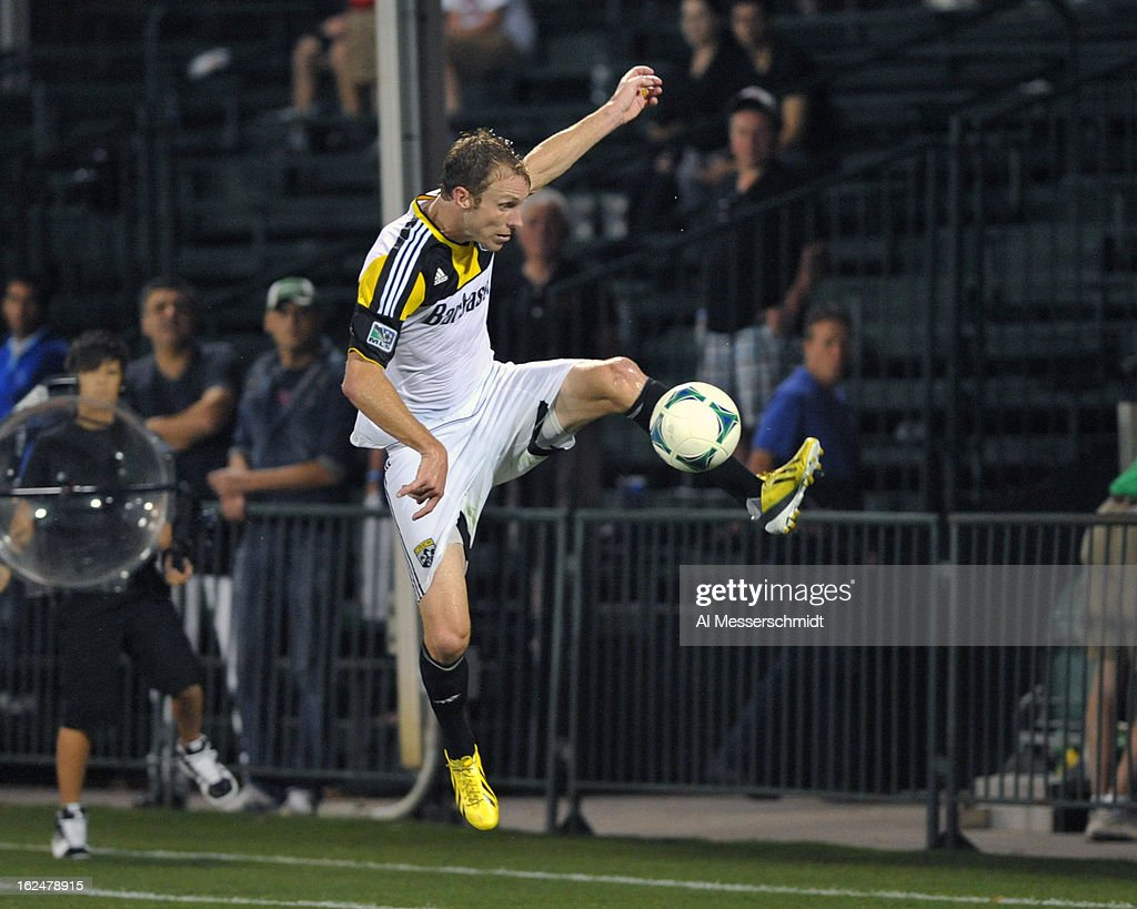 Defender Tyson Wahl #2 of the Columbus Crew jumps for a ball against the Montreal Impact in the final round of the Disney Pro Soccer Classic on February 23, 2013 at the ESPN Wide World of Sports Complex in Orlando, Florida.