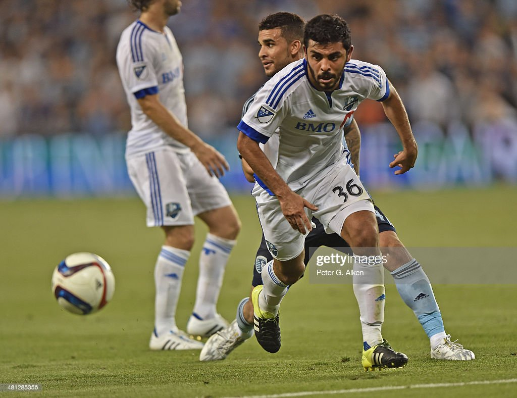 Defender Victor Cabrera #36 of the Montreal Impact chases down a loose ball against Sporting Kansas City during the second half on July 18, 2015 at Sporting Park in Kansas City, Kansas.