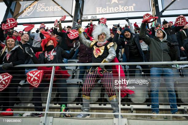 Defenders fans celebrate during the second half of the XFL game against the Seattle Dragons at Audi Field on February 8, 2020 in Washington, DC.
