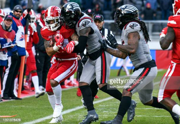 Defenders running back Donnel Pumphrey is run out of bounds by NY Guardians cornerback Jamar Summers on a run in the first half on February 15 at...