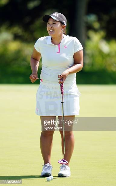 Defending champion Ai Suzuki plays a practice round at Otaru Country Club in Hokkaido northern Japan on Aug 26 a day before the Nitori Ladies golf...