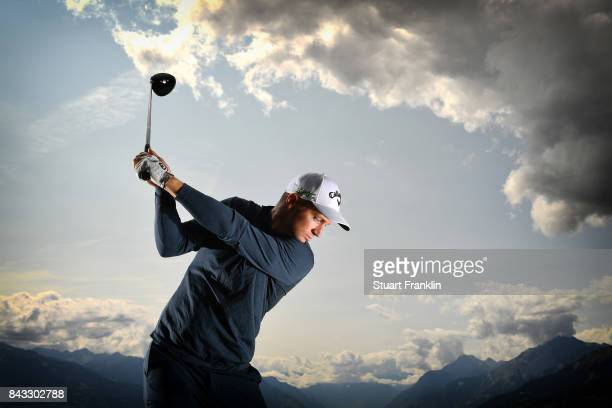 Defending Champion Alex Noren of Sweden poses for a picture during the pro am prior to the start of the Omega European Masters at CranssurSierre Golf...
