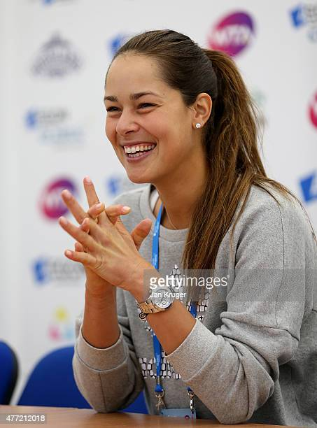 Defending Champion Ana Ivanovic of Serbia is interviewed on day one of the Aegon Classic at Edgbaston Priory Club on June 15 2015 in Birmingham...