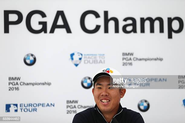 Defending Champion Byeong Hun An of South Korea talks during a press conference prior to the BMW PGA Championship at Wentworth on May 24 2016 in...