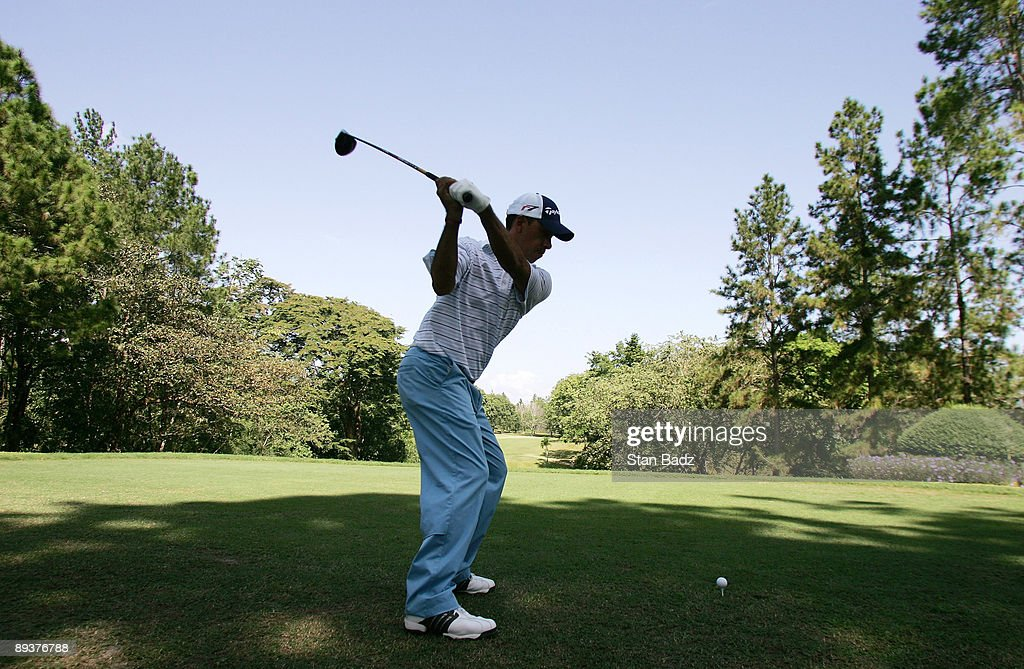 Defending Champion Miguel Carballo hits from the 14th tee during Wednesday's Pro-Am of the Movistar Panama Championship held at the Club de Golf de Panama on January 23, 2008 in Panama City, Republica De Panama.
