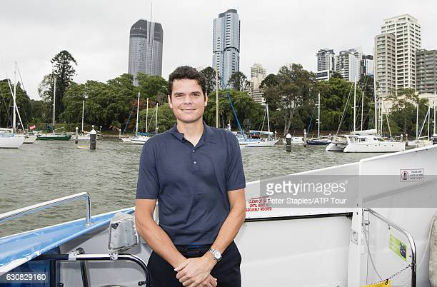 Defending Champion Milos Raonic of Canada takes in the sights of Brisbane from the CityCat and from the Brisbane River foreshore at the Brisbane...