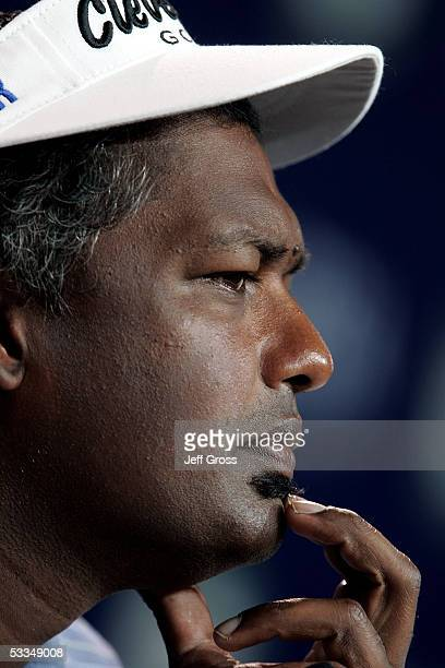 Defending champion Vijay Singh speaks with the media during a press conference after the third practice round of the 2005 PGA Championship at...