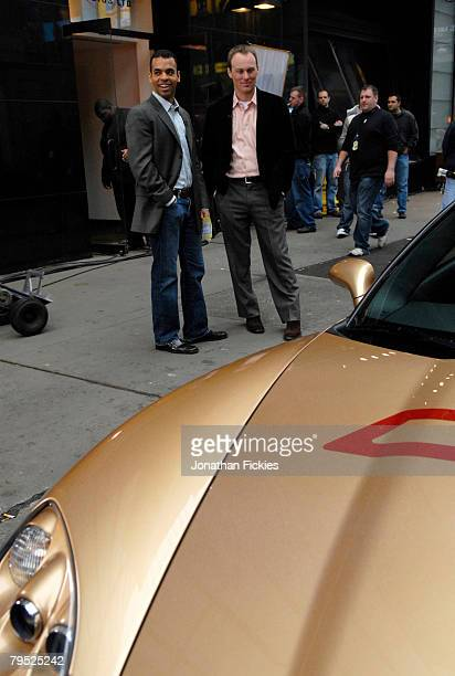Defending Daytona 500 Champion Kevin Harvick appears with the Chevrolet Corvette Z06 Pace Car for the 2008 Daytona 500 during a taping for Good...