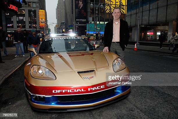 Defending Daytona 500 Champion Kevin Harvick poses with the Chevrolet Corvette Z06 Pace Car for the 2008 Daytona 500 after a taping for Good Morning...