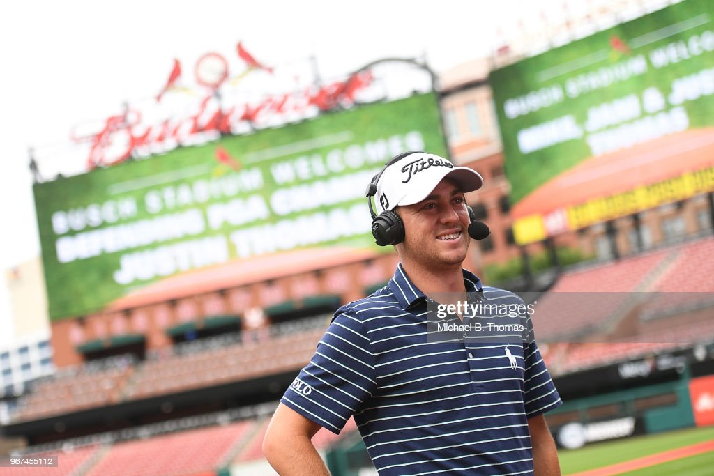 Defending PGA Champion Justin Thomas does a interview with MLB Network during the 2018 PGA Championship Media Day visit to Busch Stadium on June 4, 2018 in St Louis, Missouri.
