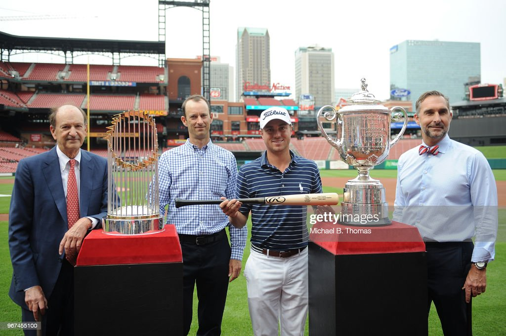 Defending PGA champion, Justin Thomas poses with St. Louis Cardinals owner Bill Dewitt Jr., President, Bill Dewitt III and General Manager, John Mozeliak during the 2018 PGA Championship Media Day visit to Busch Stadium on June 4, 2018 in St Louis, Missouri.