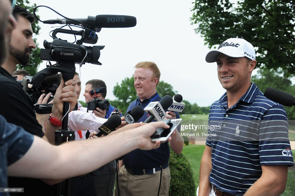 Defending PGA Champion Justin Thomas speaks to media during the 2018 PGA Championship Media Day at Bellerive Country Club on June 4, 2018 in St Louis, Missouri.