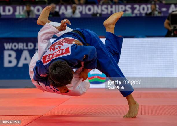 Defending u66kg champion Hifumi Abe of Japan repeats his 2017 World gold medal success by throwing Yerlan Serikzhanov of Kazakhstan for an ippon in...