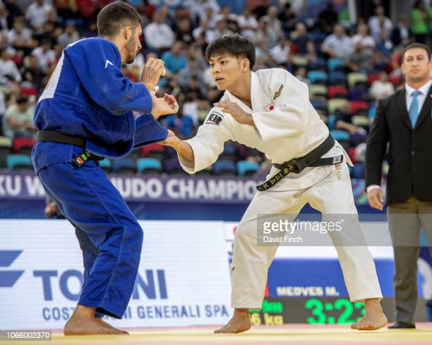 Defending World champion Hifumi Abe of Japan defeated Matteo Medves of Italy by an ippon on his way to the u66kg final and the gold medal during day...