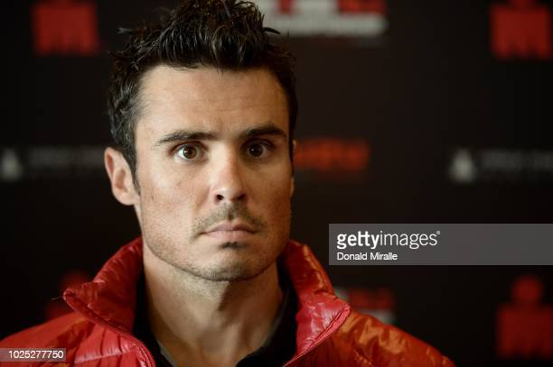 Defending World Champion Javier Gomez Noya of Spain take questions at the Professional Athlete Press Conference leading up to the Isuzu IRONMAN 703...
