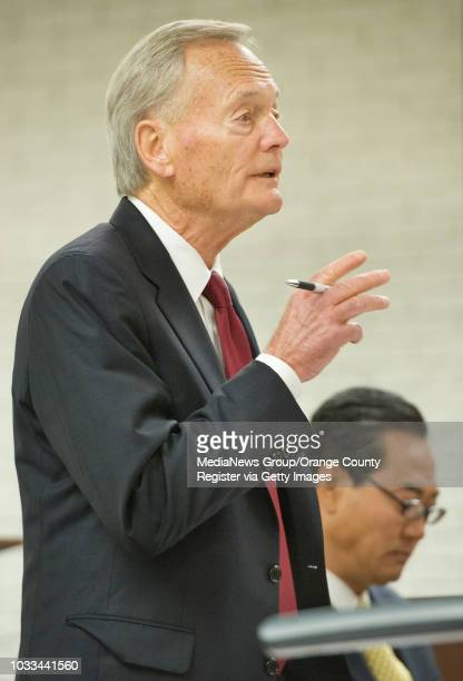 Defense attorney Al Stokke speaks during the sentencing hearing for his client Sangjin Miller Oh at right a former Buena Park mayor found guilty of...