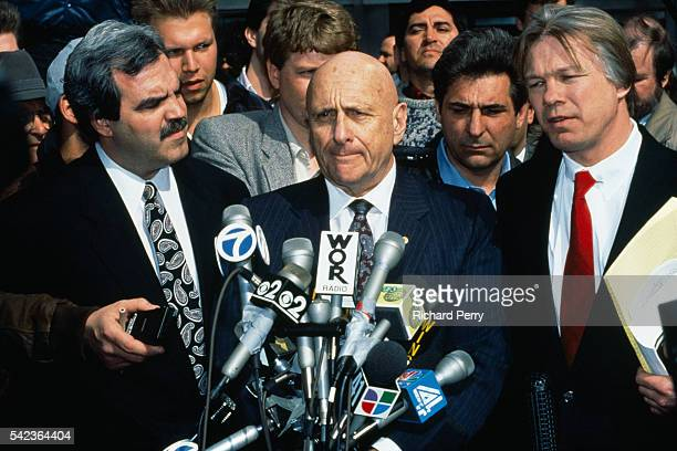 Defense attorney Albert Krieger addresses the press following the conviction of his client John Gotti Gotti was sentenced to life in prison in a...