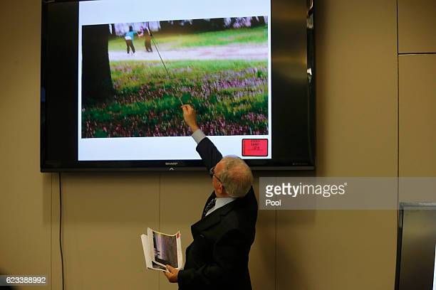 Defense attorney Andy Savage points to a video during the trial of former North Charleston police officer Michael Slager in Charleston County Court...