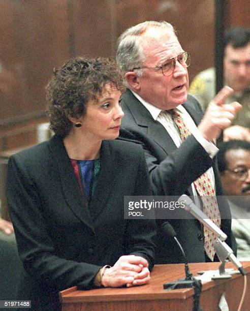 Defense Attorney F Lee Bailey reacts to prosecutor Marcia Clark's accusation that Bailey lied when he inferred the he spoke directly to defense...