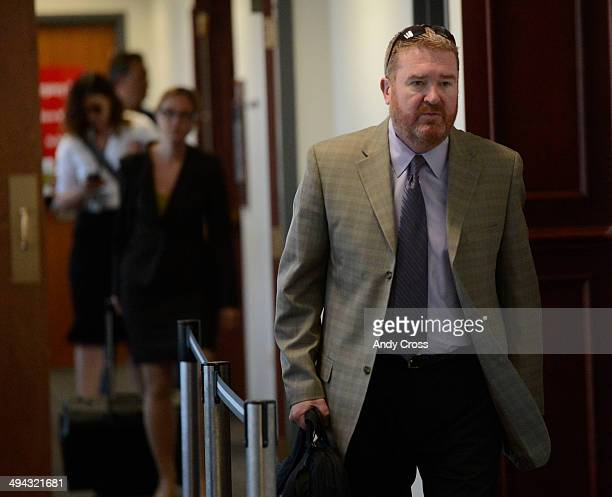 Defense attorney for James Holmes Daniel King leaves the courtroom at the Arapahoe County Justice Center after a motion hearing involving particular...