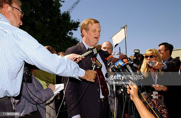 Defense attorney Harland W Braun speaks to the media outside Van Nuys Superior Court after the arraignment of his client actor Robert Blake in the...