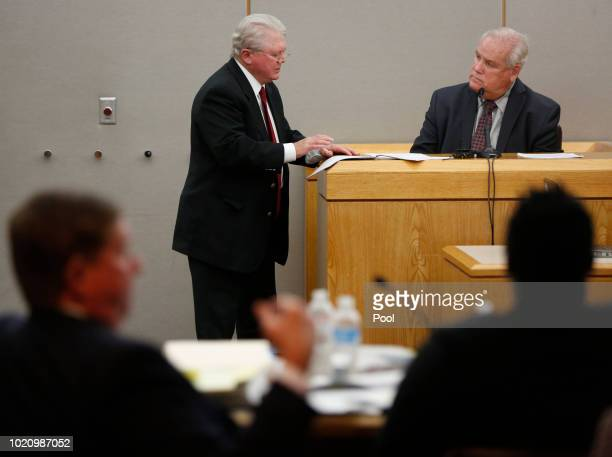 Defense attorney Jim Lane questions Philip Hayden presented as a useofforce expert on the fourth day of the trial of fired Balch Springs police...