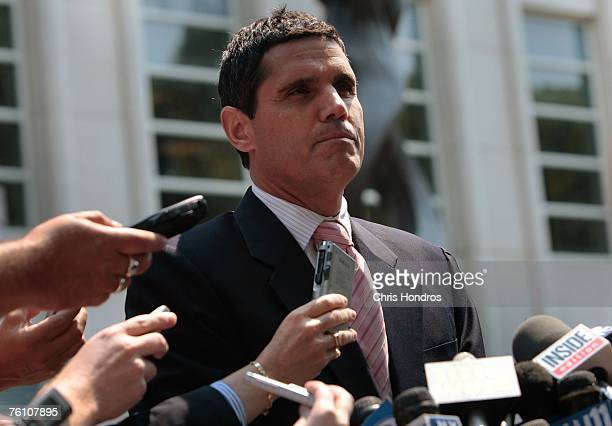 Defense attorney John Lauro speaks to the media after his client, former NBA referee Tim Donaghy, pleaded guilty to two felony charges August 15,...