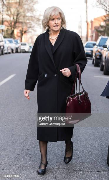 Defense attorney Kathleen Bliss leaving the Montgomery County Courthouse for the third day of Bill Cosby's sexual assault charges on April 11 2018 in...