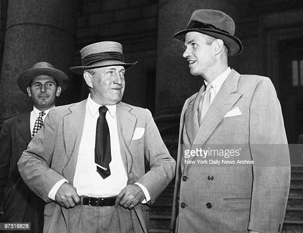 Defense Attorney Lloyd Paul Stryker with his client Alger Hiss who is accused of spying