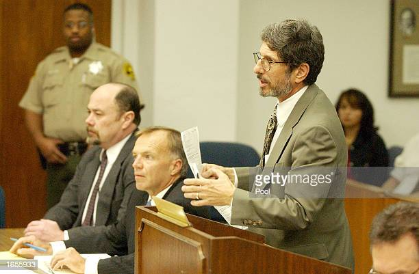 Defense attorney Steven Feldman makes his case to Judge William Mudd as Robert Boyce and David Westerfield listen during a sentencing hearing at the...