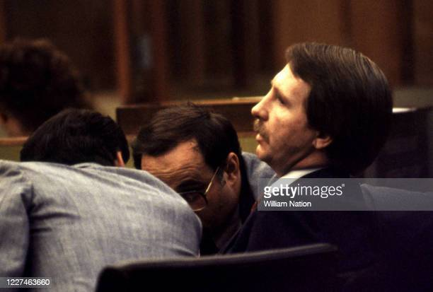 Defense attorney's Arthur Barens and Charles Mathews talk strategy as Marvin Pancoast , confessed to killing Alfred S. Bloomingdale's mistress Vicki...