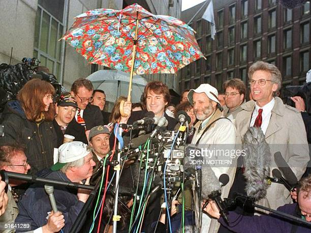 Defense attorneys for British nanny Louise Woodward talk to reporters after appeals were made to the Massachusetts Supreme Judicial Court 09 March in...