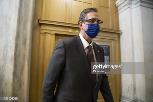 Defense attorneys for Donald Trump, Bruce Castor, wears a protective mask at the U.S. Capitol in Washington, D.C., U.S., on Thursday, Feb. 11, 2021....