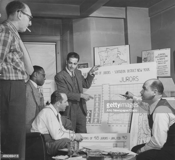 Defense attorneys for the 12 American Communist leaders on trial in Federal Court selecting jurors in the Federal Southern District of NY and Doxy...